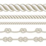 Rope set. Seamless rope and rope with different knots. Vector illustration Stock Photo