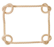 Rope in the shape of heart isolated. Frame made from rope isolated Stock Photos
