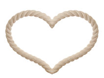 Rope in the shape of heart isolated. On white Royalty Free Stock Photo