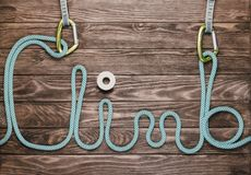 Rope in shape of word climb. Stock Images