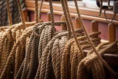 Rope on a ship. Close up of ropes on a sailing ship Royalty Free Stock Photo