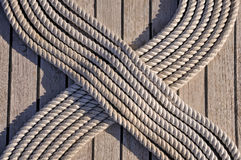 Rope on the ship deck Stock Photo