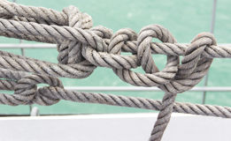 ROPE IN A SHIP AT THE SEA. Royalty Free Stock Photos