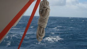 Rope on ship at sea stock video footage