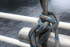 A rope on a ship tied to a knot Royalty Free Stock Image