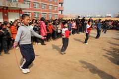 Rope Skipping Competition. The school held a skipping game.The picture shows the skipping race scene, the athletes in the fierce competition..Xingtai City, Hebei royalty free stock photos