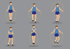 Rope Skipping Exercise Vector Character Set Royalty Free Stock Images