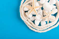 Rope and starfish on blue Stock Photo