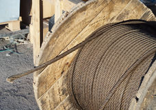 Rope steel cable. The coil with a steel cable Stock Images