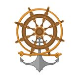 Rope, steering wheel and anchor. Sea emblem. Vector illustration.  Stock Image