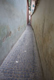 Rope street in Brasov, Romania. Rope street or strada sforii, one of the narrowest streets in Europe Stock Image