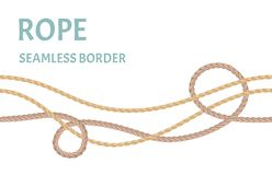 Rope, string seamless border. Thread, nautical cord isolated on white background. stock illustration