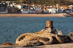 Rope sul quay Fotografie Stock Libere da Diritti