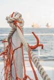 Rope  in supply boat. And oilfield Royalty Free Stock Photo