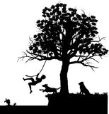 Rope-swing. Silhouette graphic illustration depicting children at summertime play in the water Stock Photography