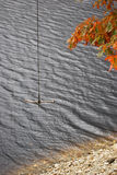 Rope Swing. Over beach waters in autumn Stock Photo