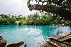 Rope swing. The splash of a rope swing in the crystal clear waters of 'Blue Lagoon', Vanuatu Stock Images