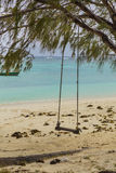 Rope swing on a tropical beach Royalty Free Stock Photography