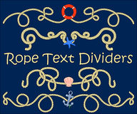Rope text divider with nautical element. Hand-drawn  illustration. Stock Photo