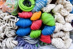 Rope texture. Heap of color and white  rope texture Stock Images