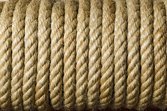 Rope Texture Close Up. Closeup of thick rusty old  rope Royalty Free Stock Photo