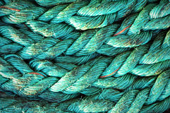 Rope textures on harbor Stock Images