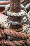 Rope textures on harbor Stock Photography