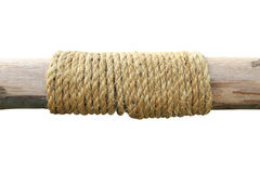 Rope tied around a wooden log Royalty Free Stock Photography