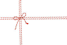 Rope Tied Bow Knot for White Envelope Package, Red Ribbon Cord Stock Photography