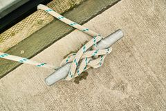 Rope tied in cleat hitch Royalty Free Stock Photo