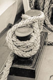 Rope tied to bollard sailboat Stock Photo