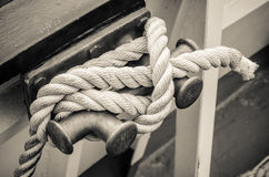 Rope tied to bollard sailboat Royalty Free Stock Photos