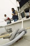 Rope Tied To Cleat On Yacht Stock Image