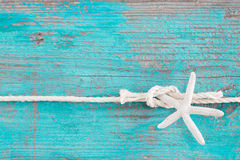 Rope tied to a starfish on turquoise wooden background Stock Images