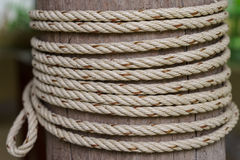 Rope tied to a wooden pole. Rope detail with wooden pillar Royalty Free Stock Photo