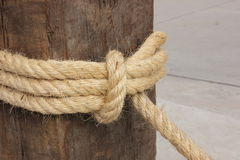 Rope tied on wooden pole Stock Image