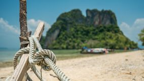 Rope Tied With A Wooden Pole stock image