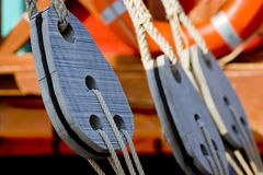 Rope ties on sailing boat. Close up details of rope ties on sailing boat Stock Photography