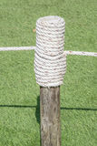 Rope tired in wooden pole with green grass background. Stock Images