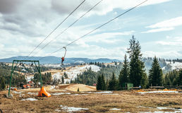 Rope tow ski lift on the old resort stock images