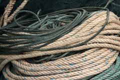Rope for trawling in the fishing boat royalty free stock photos