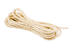 Rope twisted on a white background. Isolate royalty free stock photo