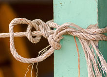 The rope tying with pole mortar Royalty Free Stock Photography
