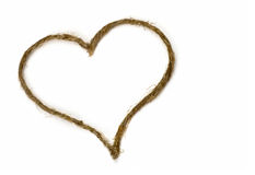 Rope valentine hart on white royalty free stock images