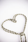 Rope valentine heart of simple design on white Stock Photos