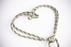 Rope valentine heart of simple design Stock Images