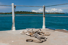 Rope on the vessel deck in. Royalty Free Stock Image
