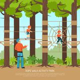 Rope Walk Park Background. Rope walk activity children park composition with view of forest playground with children and adult couch vector illustration Royalty Free Stock Photography