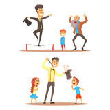 Rope walker and magician performing before happy people. Circus or street actors set of colorful cartoon detailed vector Royalty Free Stock Photo