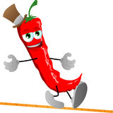 Rope walker red hot chili pepper Stock Images